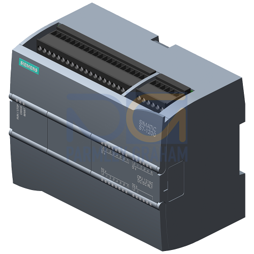 CPU 1215C - 24 VDC PSU, 14 DI (24 VDC), 10 Relay DQ, 2 AI (0-10V), 2 AQ (0-20mA),125kB, 2 port Switch
