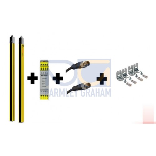 68052303-KIT2 - MLC100 safety light curtain - 300mm heigh, 30 mm  resolution, hand protection, 6m range, kit 2