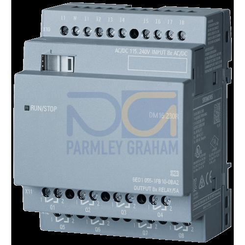 LOGO! DM16 230R - 230 V AC supply, 8 digital Inputs 230 V AC, 8 relay outputs