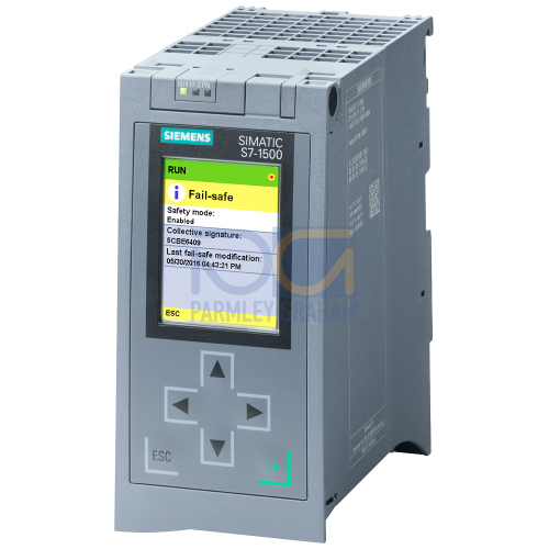 CPU 1515TF-2 PN, 750 kB / 3 MB, 2xPN interface with 2 port switch, requires MMC